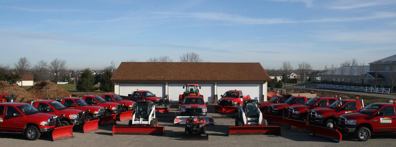 Jack's Lawn Service & Snowplowing Fleet of Trucks