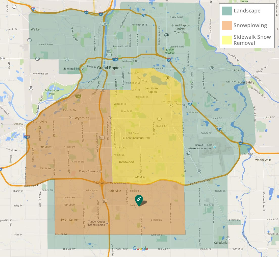 Service Area Map for Jack's Lawn Service & Snowplowing Inc. - Grand Rapids, MI